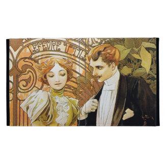 Alphonse Mucha Flirt Vintage Romantic Art Nouveau iPad Folio Case