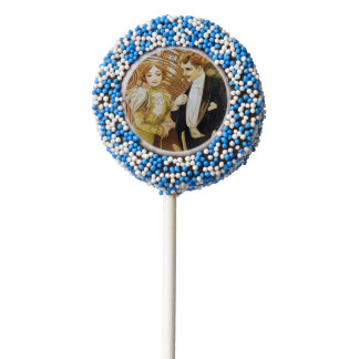 Alphonse Mucha Flirt Vintage Romantic Art Nouveau Chocolate Dipped Oreo Pop