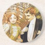 Alphonse Mucha Flirt Vintage Romantic Art Nouveau Drink Coaster