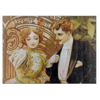 Alphonse Mucha Flirt Vintage Romantic Art Nouveau Cutting Board