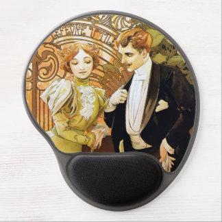 Alphonse Mucha Flirt Vintage Romantic Art Nouveau Gel Mouse Pad
