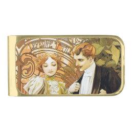Alphonse Mucha Flirt Vintage Romantic Art Nouveau Gold Finish Money Clip