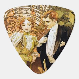 Alphonse Mucha Flirt Vintage Romantic Art Nouveau Guitar Pick
