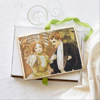 Alphonse Mucha Flirt Vintage Romantic Art Nouveau Jumbo Shortbread Cookie