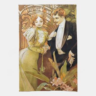 Alphonse Mucha Flirt Vintage Romantic Art Nouveau Towel
