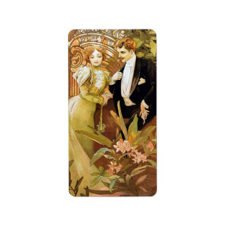 Alphonse Mucha Flirt Vintage Romantic Art Nouveau Address Label