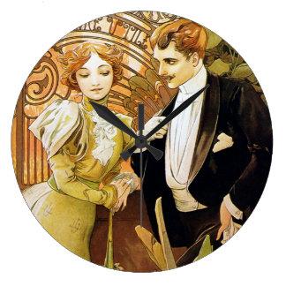 Alphonse Mucha Flirt Vintage Romantic Art Nouveau Large Clock