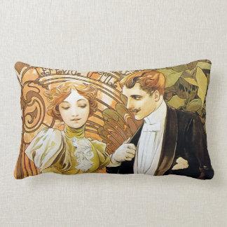 Alphonse Mucha Flirt Vintage Romantic Art Nouveau Lumbar Pillow