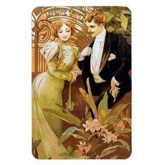 Alphonse Mucha Flirt Vintage Romantic Art Nouveau Magnet