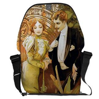 Alphonse Mucha Flirt Vintage Romantic Art Nouveau Messenger Bag