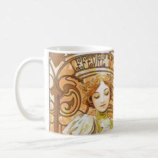 Alphonse Mucha Flirt Vintage Romantic Art Nouveau Classic White Coffee Mug