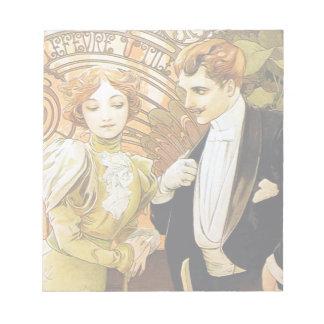 Alphonse Mucha Flirt Vintage Romantic Art Nouveau Notepad