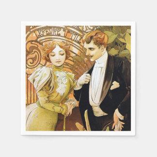 Alphonse Mucha Flirt Vintage Romantic Art Nouveau Paper Napkin