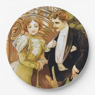 Alphonse Mucha Flirt Vintage Romantic Art Nouveau Paper Plate