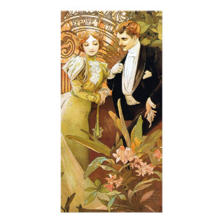 Alphonse Mucha Flirt Vintage Romantic Art Nouveau Custom Photo Card