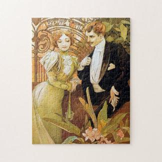 Alphonse Mucha Flirt Vintage Romantic Art Nouveau Puzzle