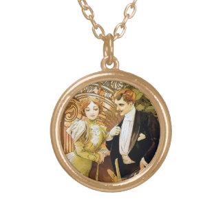 Alphonse Mucha Flirt Vintage Romantic Art Nouveau Round Pendant Necklace