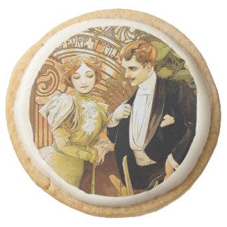 Alphonse Mucha Flirt Vintage Romantic Art Nouveau Round Shortbread Cookie