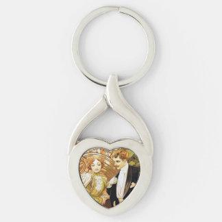 Alphonse Mucha Flirt Vintage Romantic Art Nouveau Silver-Colored Heart-Shaped Metal Keychain