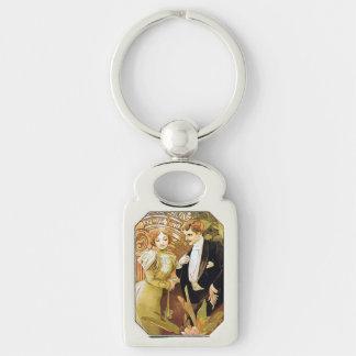 Alphonse Mucha Flirt Vintage Romantic Art Nouveau Silver-Colored Rectangular Metal Keychain