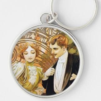 Alphonse Mucha Flirt Vintage Romantic Art Nouveau Silver-Colored Round Keychain