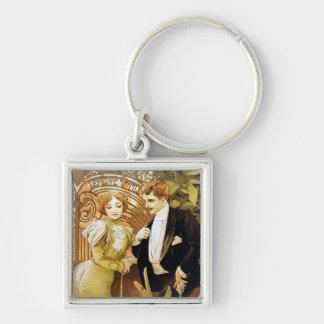 Alphonse Mucha Flirt Vintage Romantic Art Nouveau Silver-Colored Square Keychain