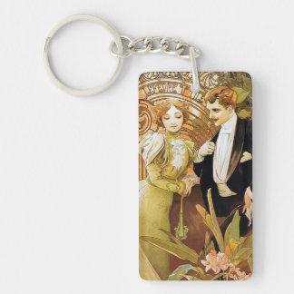 Alphonse Mucha Flirt Vintage Romantic Art Nouveau Single-Sided Rectangular Acrylic Keychain