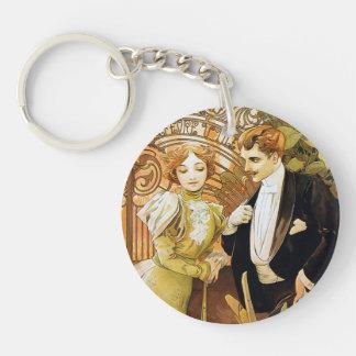 Alphonse Mucha Flirt Vintage Romantic Art Nouveau Single-Sided Round Acrylic Keychain