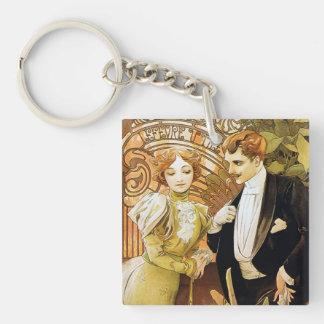 Alphonse Mucha Flirt Vintage Romantic Art Nouveau Single-Sided Square Acrylic Keychain