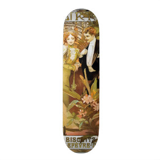 Alphonse Mucha Flirt Vintage Romantic Art Nouveau Skateboard