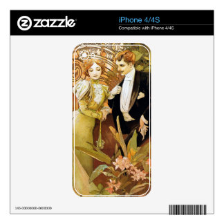 Alphonse Mucha Flirt Vintage Romantic Art Nouveau Skin For The iPhone 4
