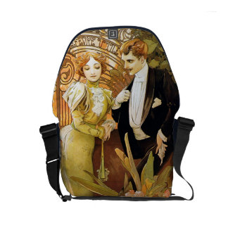 Alphonse Mucha Flirt Vintage Romantic Art Nouveau Small Messenger Bag