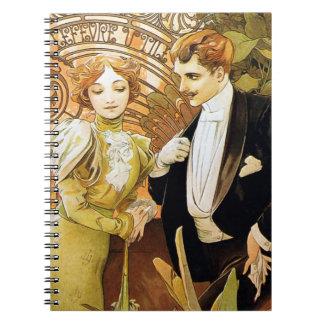 Alphonse Mucha Flirt Vintage Romantic Art Nouveau Spiral Notebook