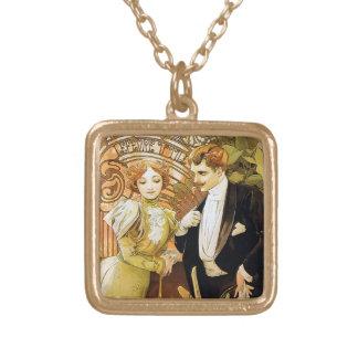 Alphonse Mucha Flirt Vintage Romantic Art Nouveau Square Pendant Necklace