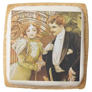 Alphonse Mucha Flirt Vintage Romantic Art Nouveau Square Shortbread Cookie