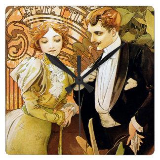 Alphonse Mucha Flirt Vintage Romantic Art Nouveau Square Wall Clock