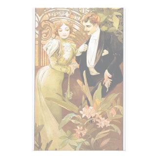 Alphonse Mucha Flirt Vintage Romantic Art Nouveau Stationery