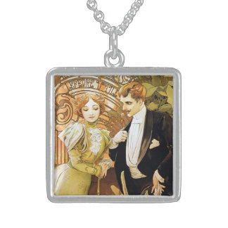 Alphonse Mucha Flirt Vintage Romantic Art Nouveau Sterling Silver Necklace