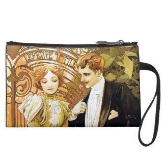 Alphonse Mucha Flirt Vintage Romantic Art Nouveau Suede Wristlet