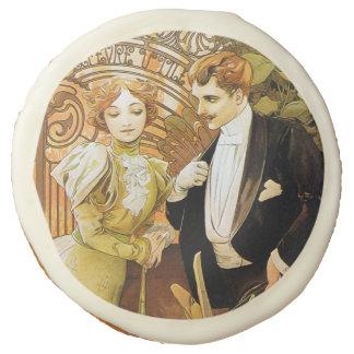 Alphonse Mucha Flirt Vintage Romantic Art Nouveau Sugar Cookie