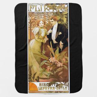 Alphonse Mucha Flirt Vintage Romantic Art Nouveau Swaddle Blanket