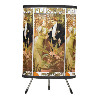 Alphonse Mucha Flirt Vintage Romantic Art Nouveau Tripod Lamp