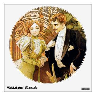 Alphonse Mucha Flirt Vintage Romantic Art Nouveau Wall Sticker