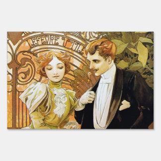 Alphonse Mucha Flirt Vintage Romantic Art Nouveau Yard Sign