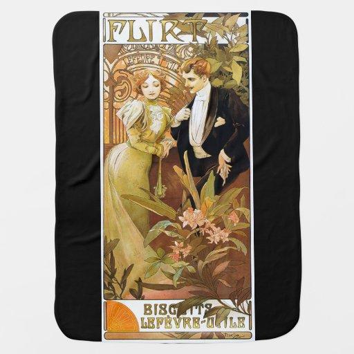 Alphonse Mucha Flirt Vintage Romantic Art Nouveau Stroller Blankets