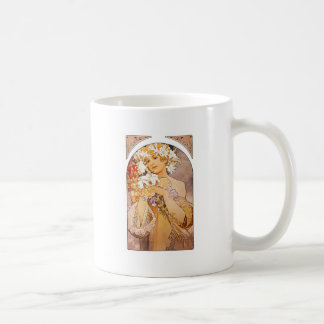Alphonse Mucha Flower Coffee Mug