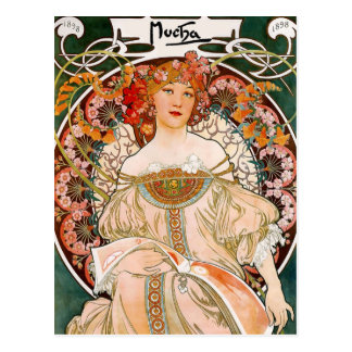 Alphonse Mucha - Flower Girl Postcard