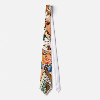 Alphonse Mucha - Flower - Retro Art Nouveau Neck Tie