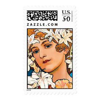 Alphonse Mucha - Flower - Retro Art Nouveau Postage