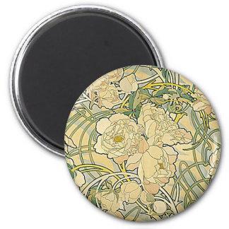 Alphonse Mucha - Flowers 2 Inch Round Magnet